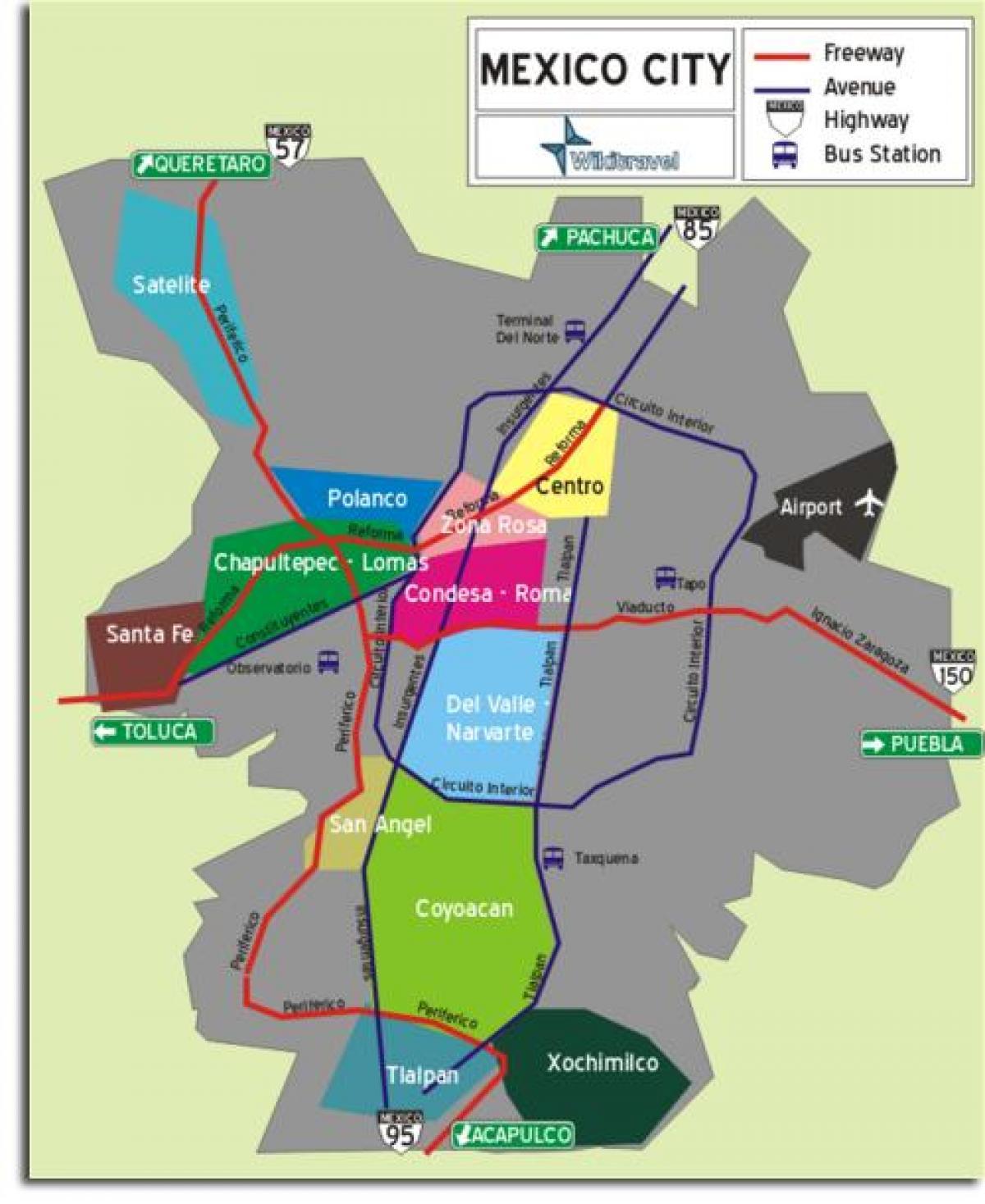 Mexico City neighborhoods map - Mexico City map of